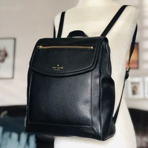 Kate Spade Black Leather Backpack